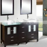 Frosted Glass Solid Wood Double Sinks Bathroom Cabinet w Mirrors
