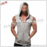 2016 Latest high quality blank sleeveless tank top pullover zipper gym singlet hoodies