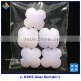 Synthetic 4 leaf Flower Shape Milky Pink Glass Stone Of Made In China