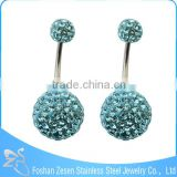 China factory medical steel aqua crystal ball beautiful navel piercing jewelry photo