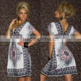 Women Bule XXL Sexy Summer Swimwear Cover Up V Neck Beach Boho Tunic Dress