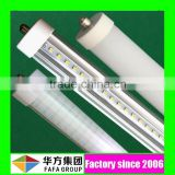 USA hot sale high power 100lm/w CRI>80 2400mm 8 feet 8ft Fa8 socket single pin led tube light T8 36 watt with 3 5 years warranty