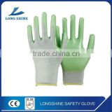 Hot Sale 10G Nylon / Spandex Liner Green Foam Nitrile Dipped Oil Resistant Breathability Working Gloves