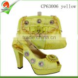 african sexy women high heel dress shoes italian women yellow shoes and clutch bag to match CP63006
