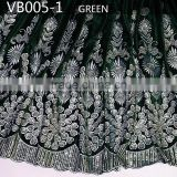 most popular French silk velvet lace,best quality velvet lace fabric for party dress VB005-1 green