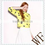 2014 alibaba China OEM service Europe printed eyes anti-shrink long sleeve yellow hoodie for girls
