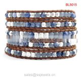 Wholesale gemstone handmade jewelry blue-veins stone beads leather wrap friendship bracelets
