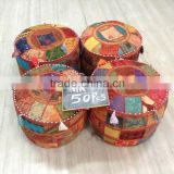 Bohemian Indian Pouf Ottoman Patchwork Pouf Cocktail Living Room bean bag Big Hassock Cover floorseat stool cover furniture pouf
