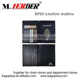 MK445 Hot sale US style top grain leather RFID passport holder wallet                                                                         Quality Choice