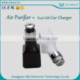 Factory most selling products double usb car charger with air purifier function electric car charger