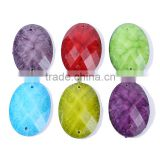 17*24MM witn 2holes sew on resin rhinestone , resin cabochon oval shape mix color factback resin beads