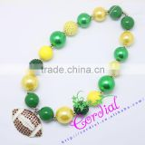 Newest Design Yiwu Cordial Fashion Jewelry Bead Jewelry Handmade Plastic Bead And Pearl Football Necklace For Team