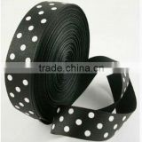 HOT SALE ! Black Polka Dots Printed Personalized Satin Woven Fabric Ribbon, Valentines Present Wrapping Decorative Ribbons