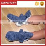 A-195 shark knitted kids slipper socks kids shark animal socks slippers children crochet shark slipper socks
