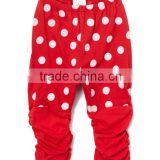 New Autumn Cotton White Polka Dot Ruched Baby Girls Leggings Red Elastic Kids Pants ChildrenClothing G-NPRR90628-31