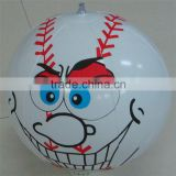 customize cartoon face cheap inflatable baseball for advertising, kids inflatable beach ball