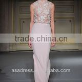 2014 New Style Chiffon High Collar Sheath Gown with Appliqued Birthday Party Dress Evening Party Dress (EVGH-1010)