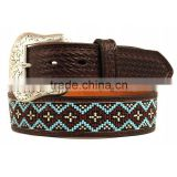 Western Cowboy Belt Basket Embossed Dark Brown Genuine Leather Men Beaded Belt