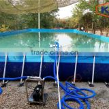 Inflatable mobile amusement park bule color inflatable steel frame swimming pools large inflatable pool