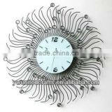 Cheap Fashion New design Mordern Home Decorative Artificial Diomond Metal Wall Clock wholesale