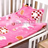 Flannel coral fleece quilt 3 pieces sets for kindergarten child and baby pink deer style