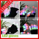 New arrive promotion wholesale fanny style led flashing black light gloves for dancing party