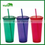 Custom Acrylic Double Wall Insulated Tumbler with Straw - 16 Oz. , Plastic Drinking Mug With Sipping Straw