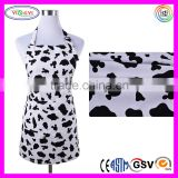 E102 Cute Women Girls Cooking Kitchen Bib Apron with Pockets Cow Print Free Bib Apron Patterns