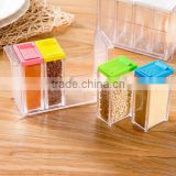 transparent rectangle 4 cases seasoning box spice box set plastic spice bottles wholesale