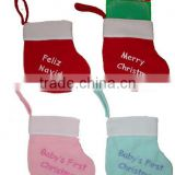 Manufacturer china new products polyester sacks wool felt mini Christmas stocking wholesale with embroidered monogram for baby