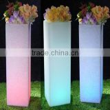 High Quality Low Price 43'' and 35'' High Plastic Solar Light Rectangular Flower Planter Pots for Bulk Sale