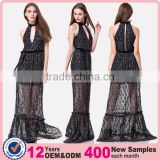 Free Sample Woman Casual Wholesale Long One Piece Maxi Fashion Black Lace and Sequin Evening Dress with Silver Threads