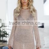 fashion shiny gold mesh dress long sleeve women sexy party night dress