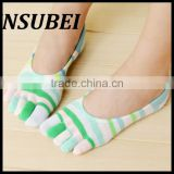 Japanese cotton striped socks shallow mouth invisible socks toe socks