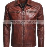 2016 new Brown bomber Leather Jacket for men