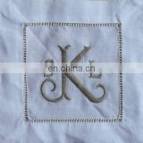 100% pure linen cocktail napkin/linen coaster with ladder hemstitch and monogramming white