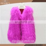 100% Genuine short mongolian lamb fur vest pretty tibet lamb fur vest for girl
