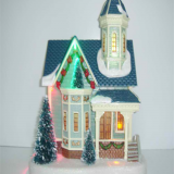 Christmas Decoration 8'' Plastic X'mas house with led holiday gifts