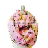 Exported Orders Cute Colorful Bird Printed Summer Spring Thin Circle Loops Infinity Scarf