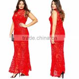 F20251A Fat women lace dress patterns turtle neck evening dress for fat women maxi dress plus size women clothing