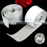 Best Price 10 rows and 12 rows Adhesive Crystal Rhinestone Mesh, Sticky Clear Crystal Rolls with Metal Setting