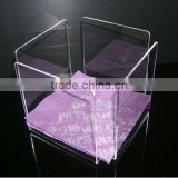 "wholesale clear square acrylic table napkin/serviette holder essentials ""stay up"" acrylic luncheon napkin holder"