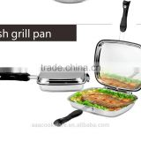 SA-12092 2014 NEW Double Fish Grill Pan Cookware Cooking pot Induction cooker 18/8 304 Stainless Steel BBQ Grill
