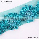 blue beads ribbon flower trim and flower(XL-066)