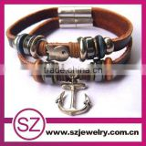 PUC0062 stainless steel clasp leather bangle bracelet with anchor and fish charms