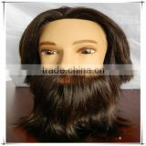 Cheap 100% natural human hair male mannequin head with hair, whole mannequin head with beard
