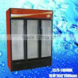 LC/S 1800HK three glass door open Refrigerator with Wheels Movable beverage freezer display coolers