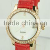 Newest Design Cheap Leather Band Watch Ladies Fancy Wrist Watches With RED Leather Band With CZ Stones Inlaid