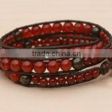 Carnelian, Sterling Silver, Triple Wrap Leather Beaded Bracelet. Red Carnelian and Bronzite gemstone beads. Holiday Festive