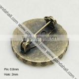 Iron Brooch Findings, with Brass Trays(IFIN-G051-AB-NF)